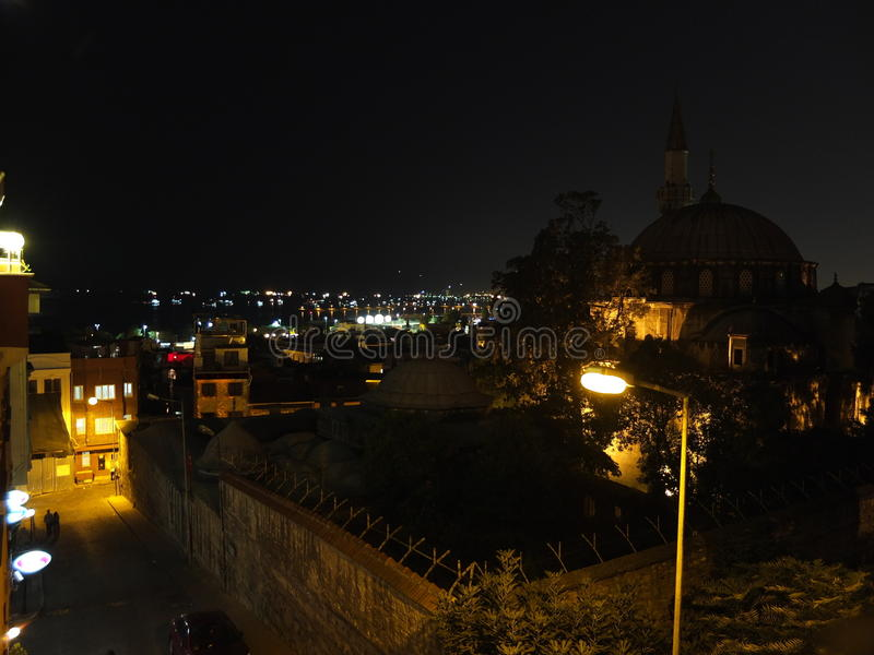 Night lights and paint Istanbul stock photography