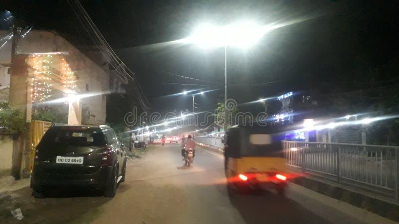 Night lights street Bhubaneswar Led Odisha India. Night lights street Bhubaneswar Led Odisha stock photo
