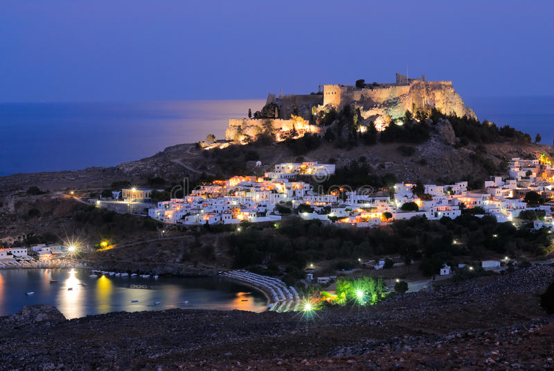 Night Lindos. Panoramic view to greek town Lindos at night stock images