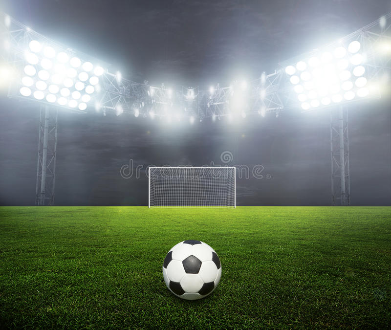 Night-lit stadium royalty free stock image
