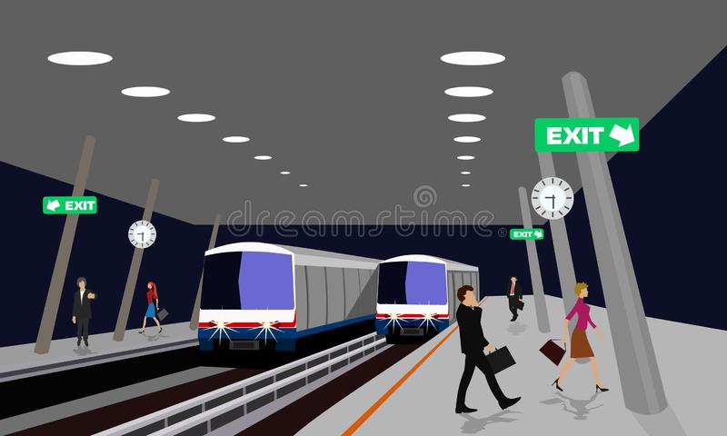 Night location of the sky train station With many people walking in Thailand stock illustration