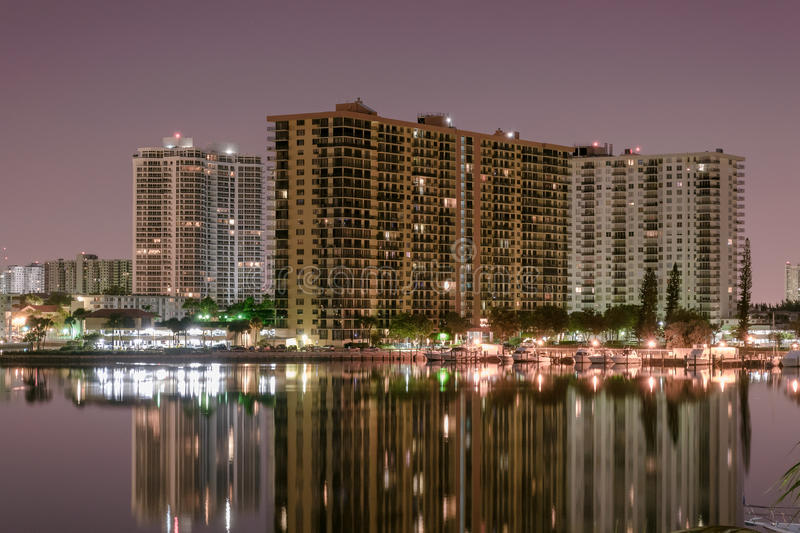 Night Long exposure of high rise condos in Miami beach canal royalty free stock images