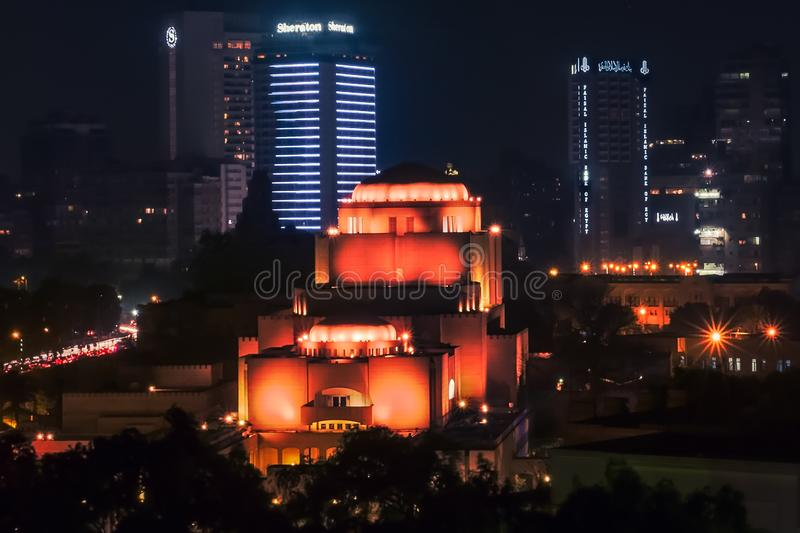 Night long exposure shot for Cairo Opera house and lights in Cairo Egypt. Cairo/Egypt - 04/15/2018: Night long exposure shot for Cairo Opera house and lights in royalty free stock photos