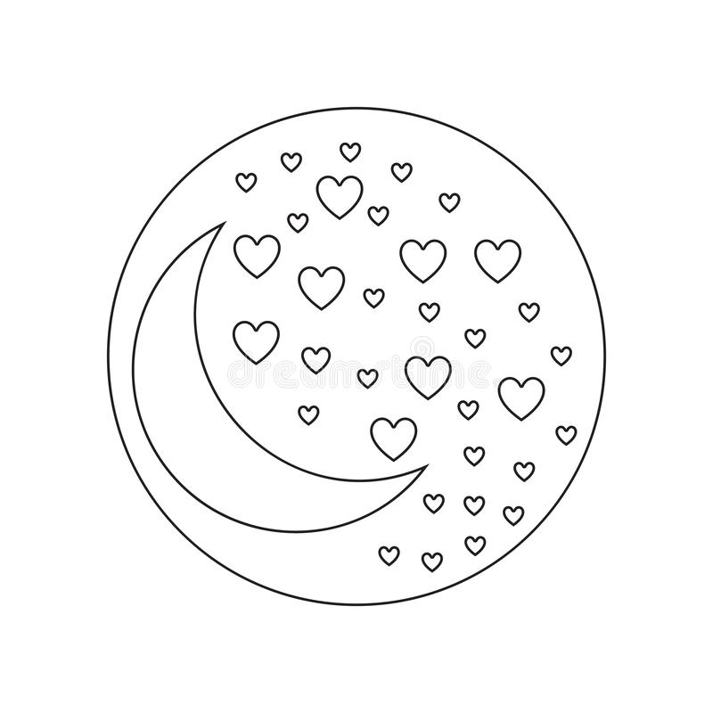 night of love icon. Element of valentine\'s day, wedding for mobile concept and web apps icon. Outline, thin line icon for website royalty free illustration