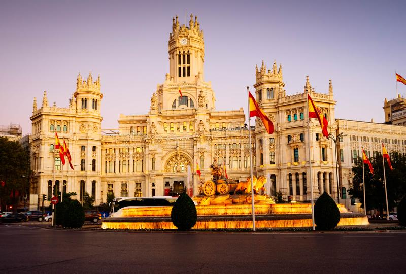 Night in Madrid, Spain. Fountain of the Cibeles and Palace of Communication, Culture and Citizenship Centre in the Cibeles Square of Madrid, toned royalty free stock image