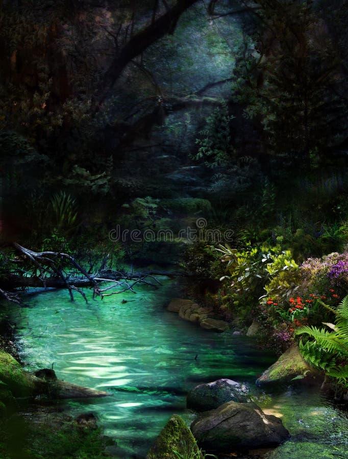 Night at magical river-2 stock photos
