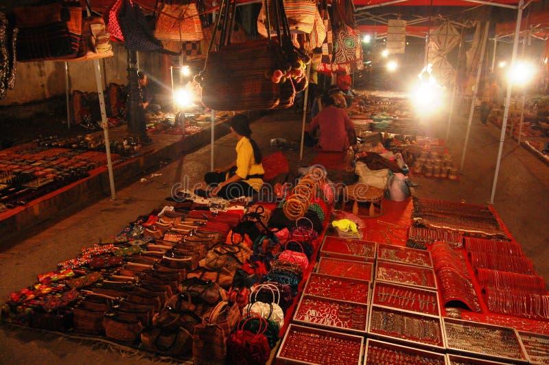 Night Market in Luang Prabang City at Loas royalty free stock image
