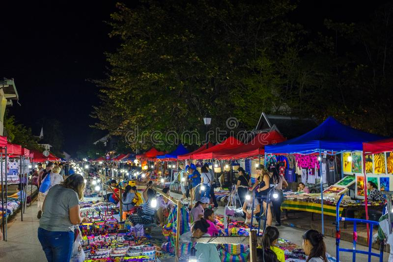 Night market in Luang Prabang royalty free stock photography