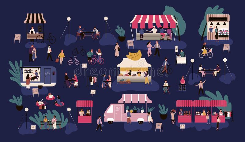 Night market or nighttime outdoor fair. Men and women walking between stalls or kiosks, buying goods, eating street food stock illustration