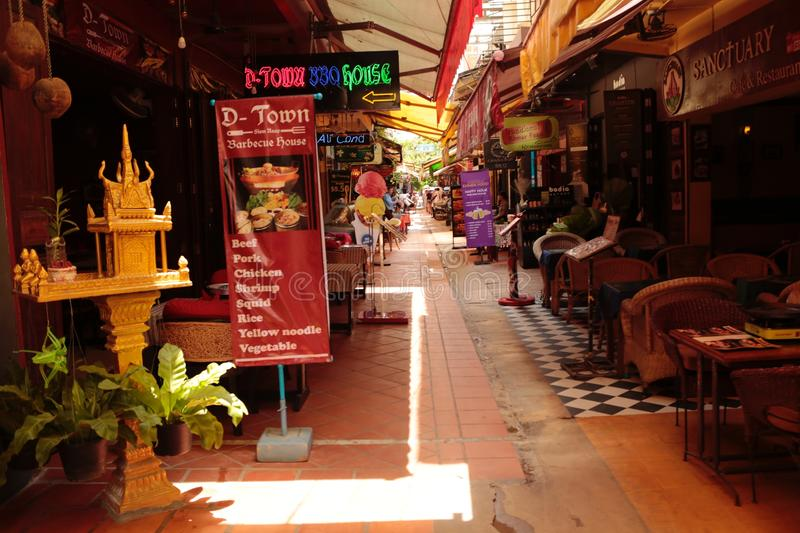 Night market in the street of Siem reap. The angkor night market in Siem Reap is one of the oldest night market in Cambodia. You can find many things as food and stock images