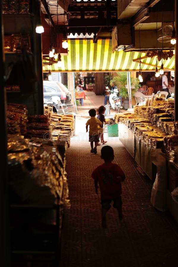 Night market in the street of Siem reap. The angkor night market in Siem Reap is one of the oldest night market in Cambodia. You can find many things as food and royalty free stock images
