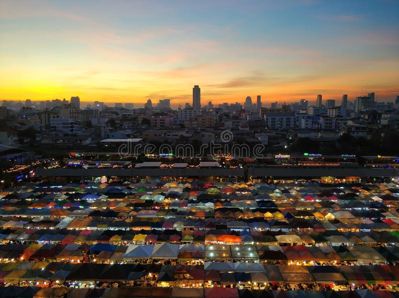 The Bangkok night market. Night markets in Bangkok are among the easiest and most enjoyable ways of getting up close and personal with local life in Thailand`s stock photography