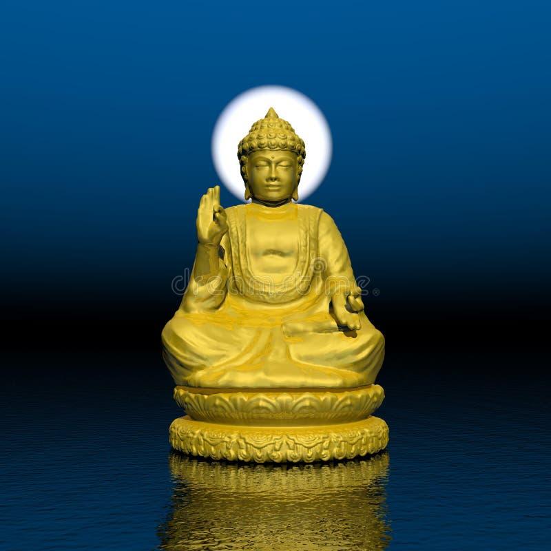 Night meditation - 3D render stock illustration