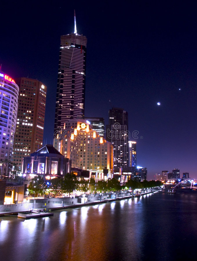 Night in melbourne royalty free stock photos