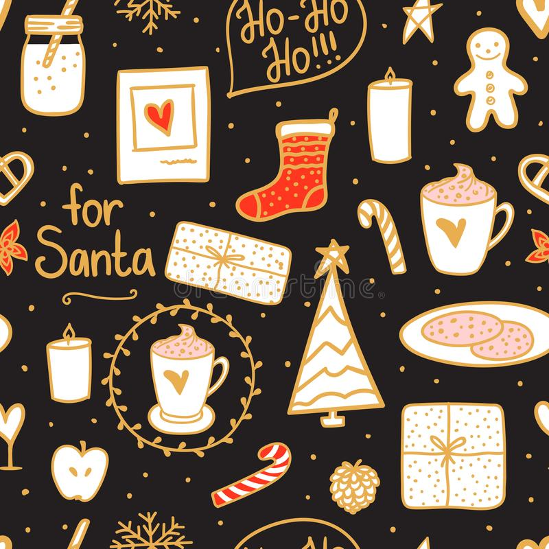 Night Merry Christmas seamless pattern. Holidays mood set: sock, gift, tree, candles, jar of milk, a cup cocoa on dark background vector illustration