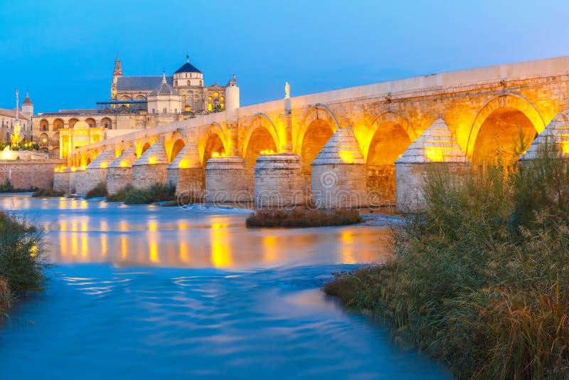 Night Mezquita and Roman bridge in Cordoba, Spain royalty free stock photography