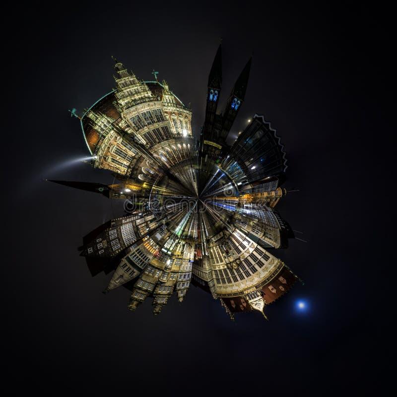 Night Mini planet of Bremen main market square royalty free stock image