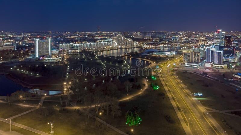Night Minsk, Belarus. Drone aerial photo. Minsk, Belarus. Drone aerial photo. The inscription on the building: `Minsk - hero city stock photography