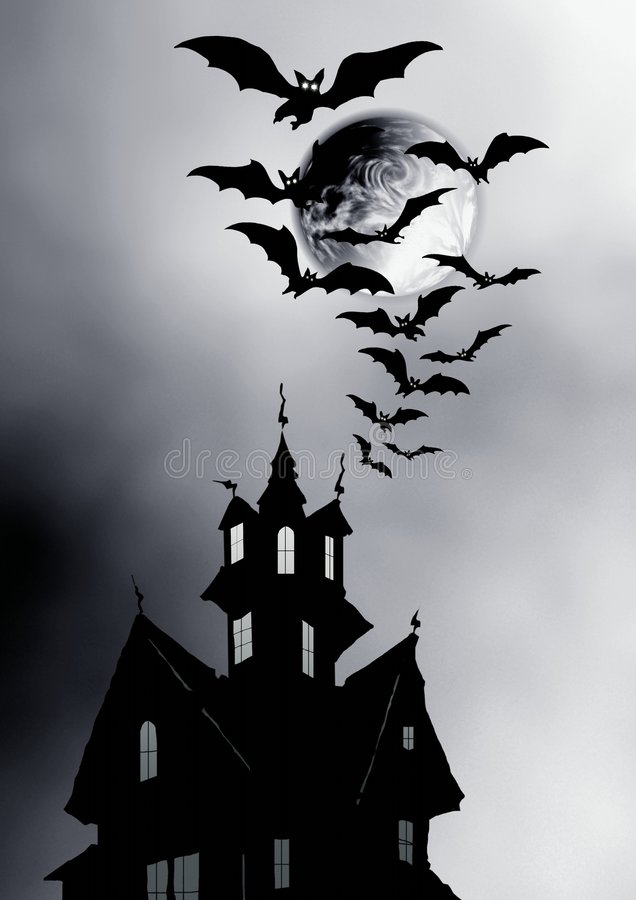 Night. Moon, house and bats. royalty free stock image
