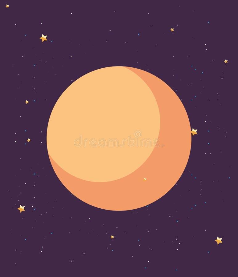 Night moon stars landscape royalty free illustration