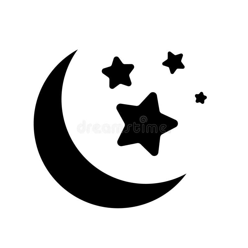 Night moon with stars vector icon. night moon with stars illustration symbol. royalty free illustration