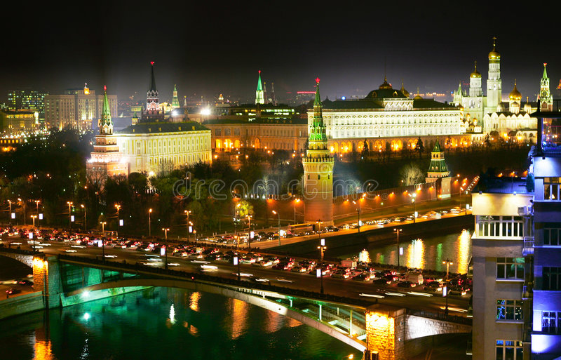 Download Night Moscow stock image. Image of place, brick, downtown - 4107107