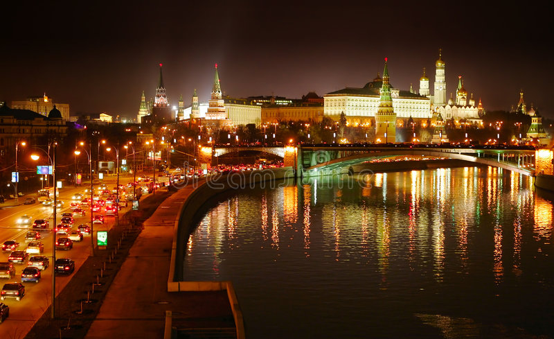 Download Night Moscow stock photo. Image of forces, dome, lighting - 4107182