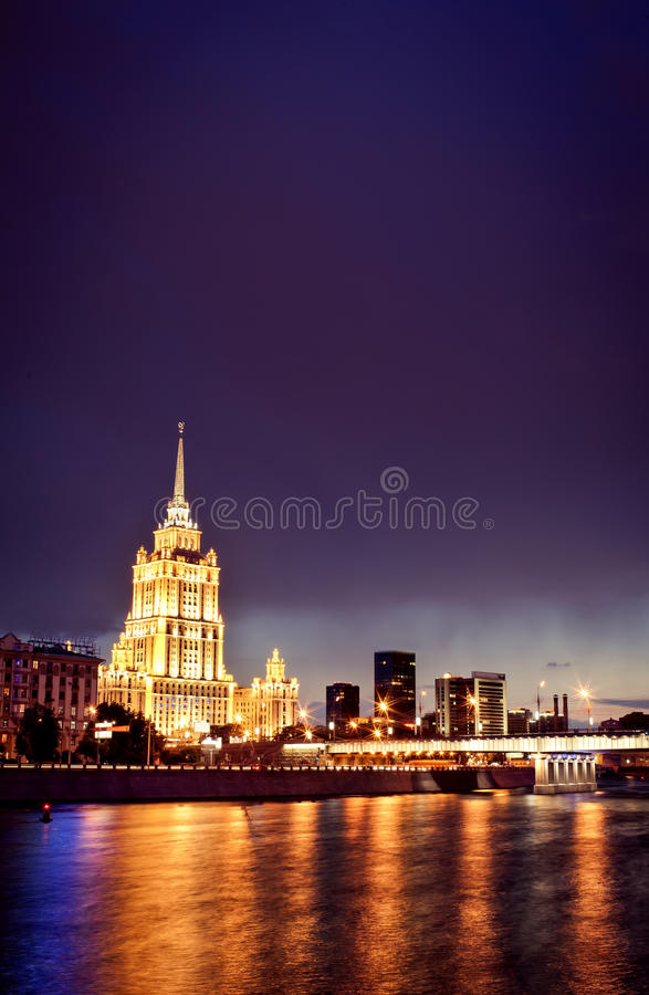 Night Moscow cityscape. Taken fron quay stock photos