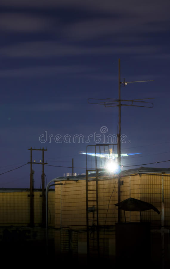 Night Moscow cityscape from rooftop. Residential dormitory area at night. Night view from the roof stock photo