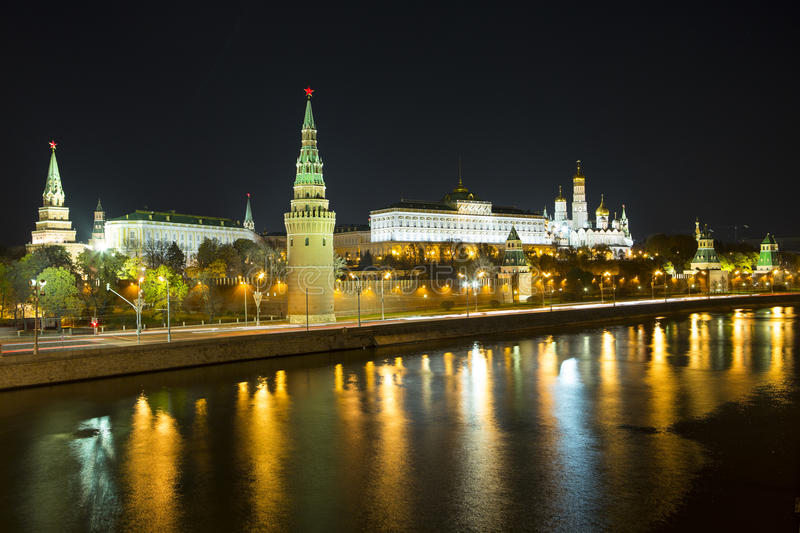 Night: The Moscow Kremlin royalty free stock photography
