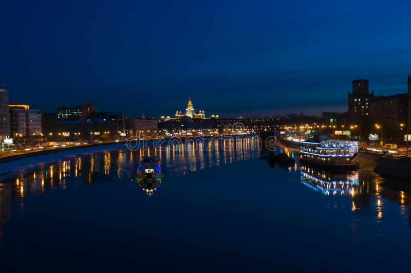 Download Night Moscow. Moscow River. Stock Photo - Image: 30520940