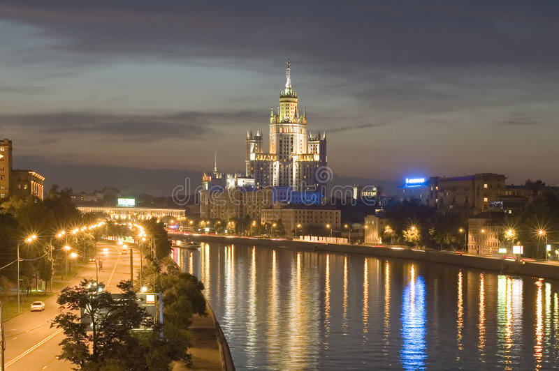 Download Night Moscow river stock photo. Image of lamp, hoisting - 2869466
