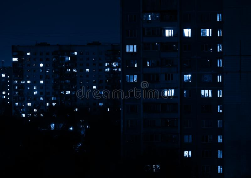 Night at Moscow suburbs city background. Horizontal orientation vivid vibrant color bright spacedrone808 rich composition design concept element object shape royalty free stock photos