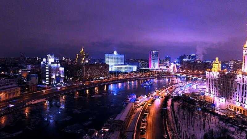 Night Moscow. Taras Shevchenko embankment wonderful view, Moskva River, Dorogomilovo, Moscow, Russia royalty free stock image