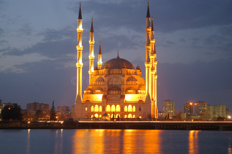 NIght Mosque. Mosque in Adana at night