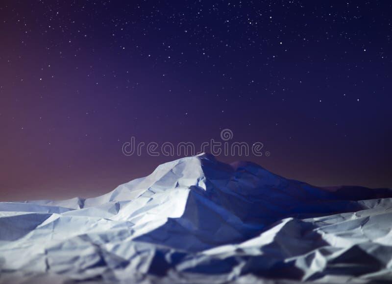 Polar night mountain landscape star sky South pole Antarctica. royalty free stock images