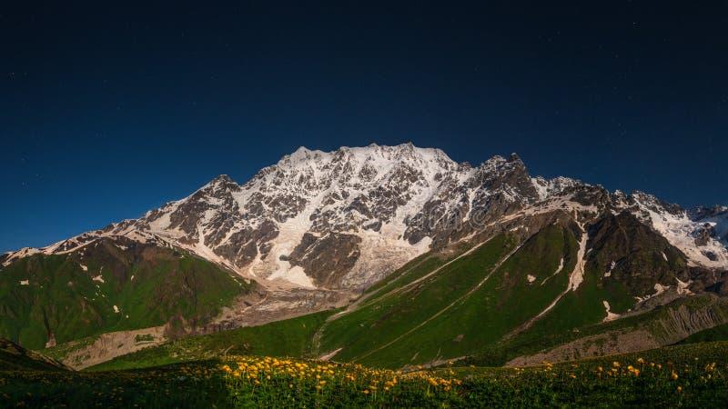 Night mountain landscape in Svaneti, Georgia royalty free stock photo