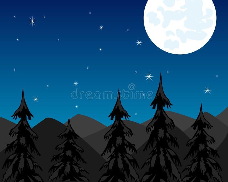Night in mountain and moon stock illustration