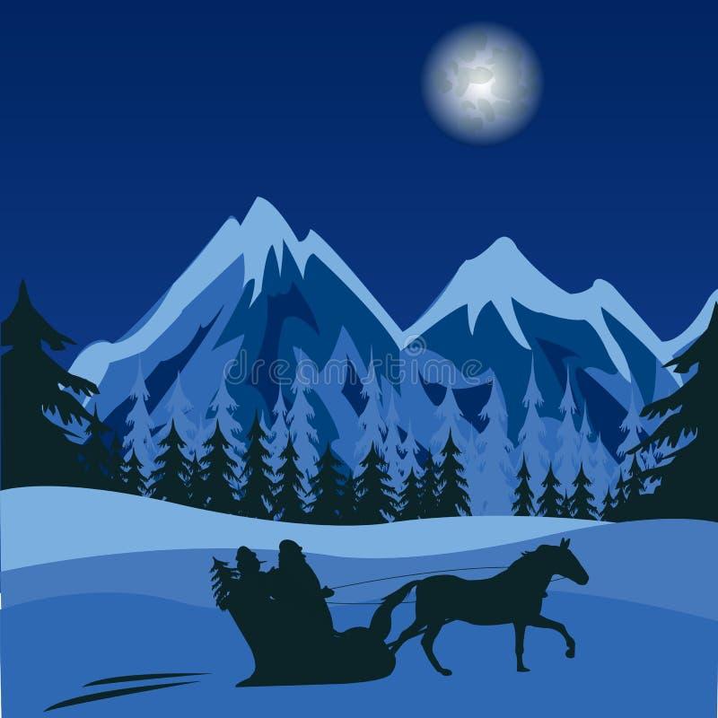 Night in mountain stock illustration
