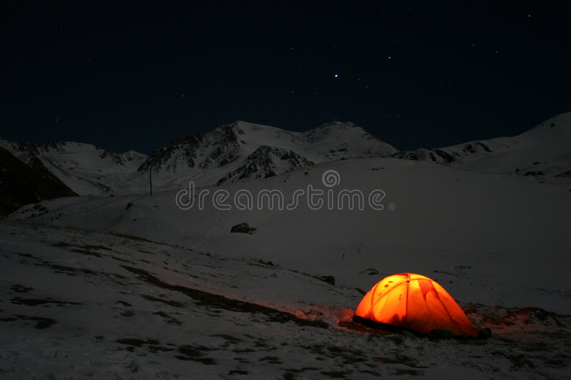 Night in mountains stock image