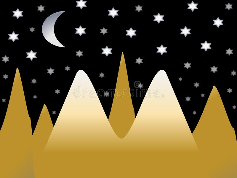Night in the mountains. Picture that symbolizes cloudless starlit night in mountains stock illustration