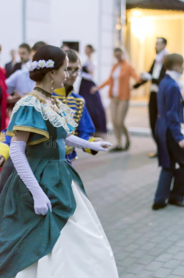 Night of museums festival. The yard of the mansion of the merchant Rukavishnikov. People perform Spanish waltz. Costume show. NIZHNY NOVGOROD, RUSSIA May 20 stock image