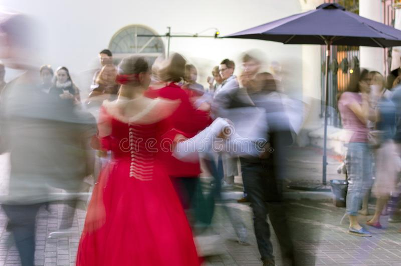 Night of museums festival. The yard of the mansion of the merchant Rukavishnikov. People perform Spanish waltz. Costume show. NIZHNY NOVGOROD, RUSSIA May 20 stock photos