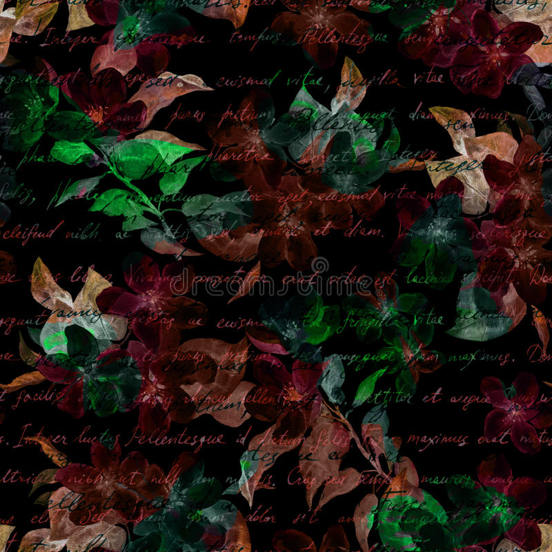 Night mysterious flowers, hand written letter text. Black background. Seamless pattern. Night mysterious flowers with hand written letter text. Black background stock images