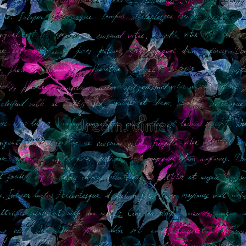 Night mysterious flowers, hand written letter text. Black background. Seamless pattern. Night mysterious flowers with hand written letter text. Black background royalty free illustration