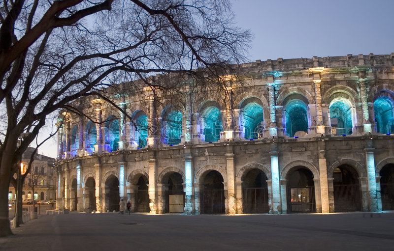 By night NÃimes (Nimes) roman Arena, France, Europe royalty free stock image