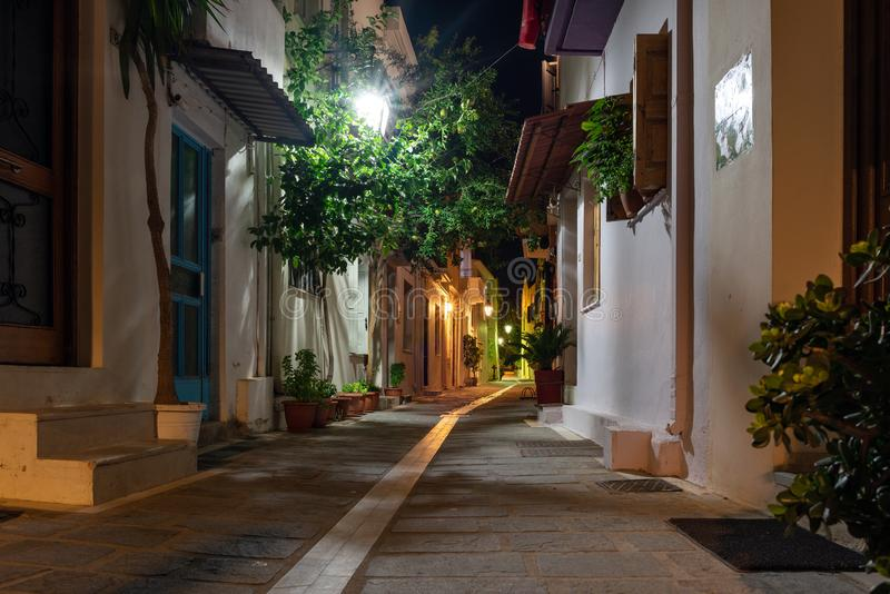 Night narrow street of Rethymno old town, Crete island, Greece.  stock photos