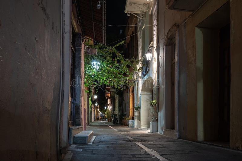 Night narrow street of Rethymno old town, Crete island, Greece.  stock photo