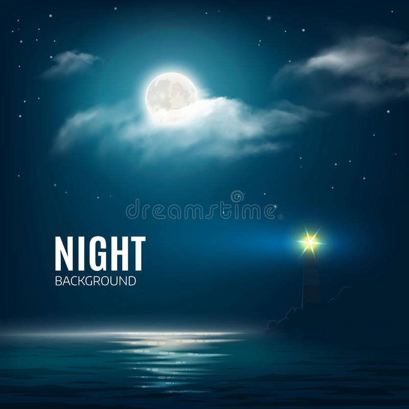 Night nature cloudy sky with stars, moon and calm sea with lighthouse stock illustration