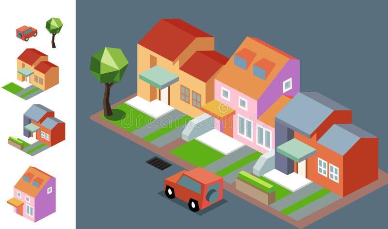 Night Neighbourhood isometric stock illustration